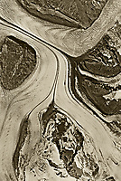 aerial map photograph of dividing glaciers near Anchorage, Alaska