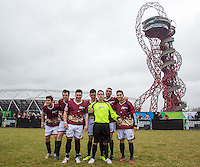 The Apprentice Team (l-r) David Stevenson (The Apprentice 2015), Gary Poulton (The Apprentice 2015), Mergim Butaja (The Apprentice 2015), Joseph Valence (The Apprentice 2015), Andrew Hayden Smith, Scott Saunders (The Apprentice 2015) & Frankie Vu (Football Freestyler) during the SOCCER SIX Celebrity Football Event at the Queen Elizabeth Olympic Park, London, England on 26 March 2016. Photo by Andy Rowland.