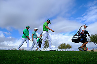Rickie Fowler (USA) Brandon Grace (RSA) and Justin Thomas (USA) walking off the 9th tee during the 3rd round of the Waste Management Phoenix Open, TPC Scottsdale, Scottsdale, Arisona, USA. 02/02/2019.<br /> Picture Fran Caffrey / Golffile.ie<br /> <br /> All photo usage must carry mandatory copyright credit (&copy; Golffile | Fran Caffrey)