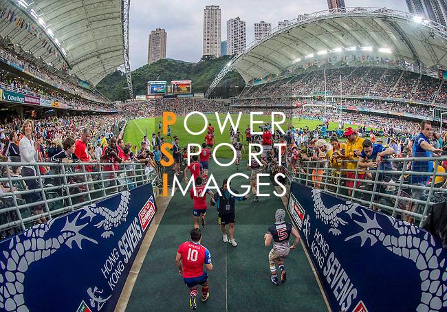 Hong Kong vs Chile during the Cathay Pacific / HSBC Hong Kong Sevens at the Hong Kong Stadium on 29 March 2014 in Hong Kong, China. Photo by Juan Flor / Power Sport Images