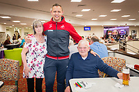Pictured: Thursday 12 April 2018<br /> Re: Lee Trundle, Alfie Mawson and Nathan Dyer visit Castle Bingo, Morriston on Thursday the 12th of April 2018.