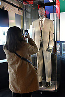 Nelson Mandela's three-piece suit worn for opening of Parliament 1996 at Nelson Mandela The Official Exhibition celebrating the life and legacy of Nelson Mandela, the anti-apartheid revolutionary and former President of South Africa, showcasing personal belongings and objects.  Nelson Mandela The Official Exhibition press view, London, UK - 7 February 2019.<br /> CAP/JOR<br /> &copy;JOR/Capital Pictures