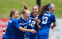 NWA Democrat-Gazette/CHARLIE KAIJO Rogers High School midfielder Skylurr Patrick (3) reacts with teammates after scoring a goal during the semifinals of the 7A Girls State Soccer Tournament, Saturday, May 12, 2018 at Whitey Smith Stadium at Rogers High School in Rogers. Rogers advanced to the finals when midfielder Skylurr Patrick (3) scored both of Rogers' goals defeating Southside High School, 2-1.