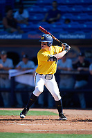 Michigan Wolverines first baseman Jesse Franklin (7) at bat during a game against Army West Point on February 17, 2018 at Tradition Field in St. Lucie, Florida.  Army defeated Michigan 4-3.  (Mike Janes/Four Seam Images)