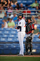 Binghamton Rumble Ponies catcher Colton Plaia (26) at bat in front of Altoona Curve catcher Jackson Williams (43) during a game against the Altoona Curve on May 17, 2017 at NYSEG Stadium in Binghamton, New York.  Altoona defeated Binghamton 8-6.  (Mike Janes/Four Seam Images)