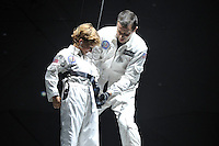 LONDON, ENGLAND - OCTOBER 6: Huckleberry and Bear Grylls performing at 'Bear Grylls: Endeavour' performing at SSE Arena on October 6, 2016 in London, England.<br /> CAP/MAR<br /> &copy;MAR/Capital Pictures /MediaPunch ***NORTH AND SOUTH AMERICAS ONLY***