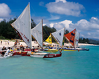 Hawaiian Outrigger Sailing Canoes, Kailua Beach Park, Oahu, Hawaii, USA.