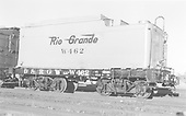 Side end view of water car W462 - ex K-27 tender body - at Alamosa.<br /> D&amp;RGW  Alamosa, CO  Taken by Richardson, Robert W. - 8/1950