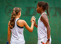 Hilversum, Netherlands, Juli 31, 2019, Tulip Tennis center, National Junior Tennis Championships 12 and 14 years, NJK, Girls Doubles: Silver Bijlsma (NED) (L) and Megan Caffin (NED)<br /> Photo: Tennisimages/Henk Koster