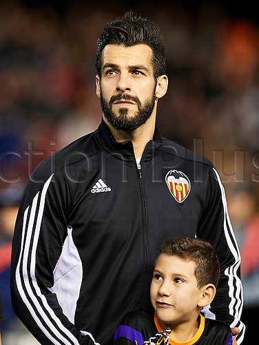18.02.2016. Mestalla Stadium, Valencia, Spain. Europa League. Valencia versus Rapid Wien. Forward Alvaro Negredo of Valencia CF looks on