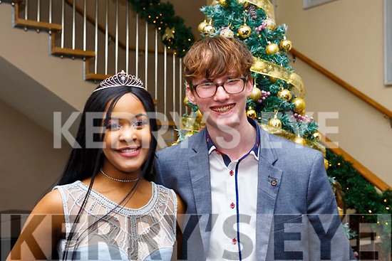 Blessing Ndebele (Dingle) and Aaron O'Sullivan (Tralee) attending the Mercy Mounthawk debs in the Ballyroe Heights Hotel on Thursday night last.
