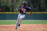 Minnesota Twins infielder Niko Goodrum (21) runs the bases during a minor league spring training game against the Baltimore Orioles on March 20, 2014 at the Buck O'Neil Complex in Sarasota, Florida.  (Mike Janes/Four Seam Images)