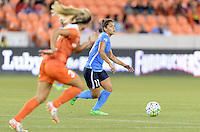 Houston, TX - Friday April 29, 2016: Raquel Rodriguez (11) of Sky Blue FC races up the field with the ball against the Houston Dash at BBVA Compass Stadium. The Houston Dash tied Sky Blue FC 0-0.