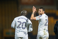 Max Muller (right) of Wycombe Wanderers applauds the support during the The Checkatrade Trophy  Quarter Final match between Mansfield Town and Wycombe Wanderers at the One Call Stadium, Mansfield, England on 24 January 2017. Photo by Andy Rowland.