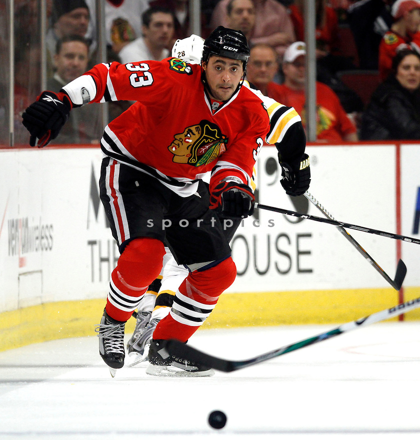 DUSTIN BYFUGLIEN, of the Chicago Blackhawks, during the Blackhawks, game against the Boston Bruins on December 18, 2009 in Chicago, IL.  The Blackhawks beat the Bruins 5-4 in a shoot out.