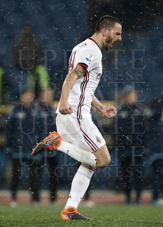 Football Soccer: Tim Cup semi-final second Leg, SS Lazio vs AC Milan, Stadio Olimpico, Rome, Italy, February 28, 2018.<br /> Milan's captain Leonardo Bonucci celebrates after winning the Tim Cup semi-final football match against SS Lazio at Rome's Olympic stadium, February 28, 2018.<br /> UPDATE IMAGES PRESS/Isabella Bonotto