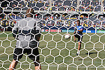 09 September 2007: U.S. goalkeeper coach Juergen Sommer (in blue) hits some shots to Chris Seitz (l). The Brazil Men's National Team defeated the United States Men's National Team 4-2 at Soldier Field in Chicago, Illinois in an international friendly labeled the Clash of Champions.