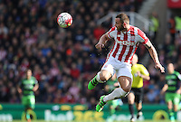 Stoke City's Phil Bardsley clears his lines during the Barclays Premier League match between Stoke City and Swansea City played at Britannia Stadium, Stoke on April 2nd 2016
