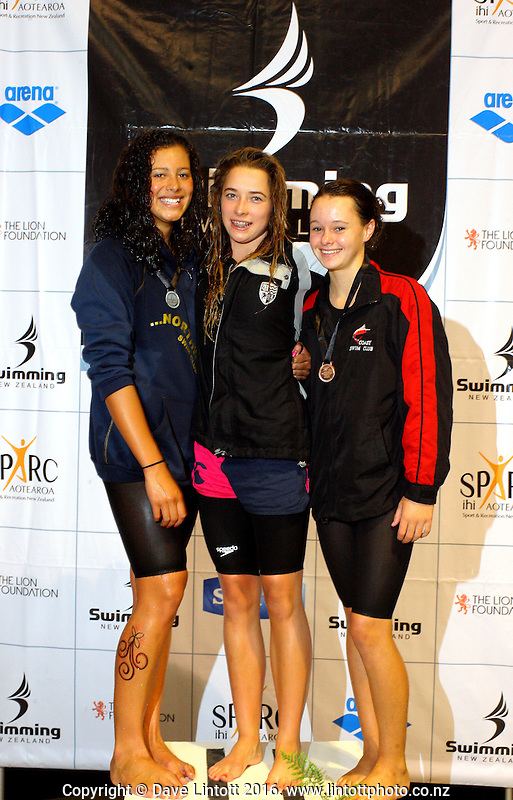 14yo Girls 50m butterfly podium, from left, Melita Raravula (2), Georgia Marris (1) and Michayla Johnson (3). New Zealand Age Group Swimming Championships day four at Welllington Aquatics Centre, Kilbirnie, Wellington, New Zealand on Friday, 4 March 2011. Photo: Dave Lintott / lintottphoto.co.nz