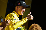 Christopher Froome (GBR) Team Sky retakes the race leaders Yellow Jersey at the end of Stage 14 of the 104th edition of the Tour de France 2017, running 181.5km from Blagnac to Rodez, France. 15th July 2017.<br /> Picture: ASO/Pauline Ballet | Cyclefile<br /> <br /> <br /> All photos usage must carry mandatory copyright credit (&copy; Cyclefile | ASO/Pauline Ballet)