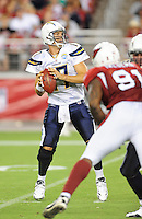 Aug. 22, 2009; Glendale, AZ, USA; San Diego Chargers quarterback Phillip Rivers against the Arizona Cardinals during a preseason game at University of Phoenix Stadium. Mandatory Credit: Mark J. Rebilas-