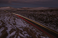 Long exposure frame of traffic along the A62 at the Standedge Cutting, Marsden Moor, Saddleworth, West Yorkshire.