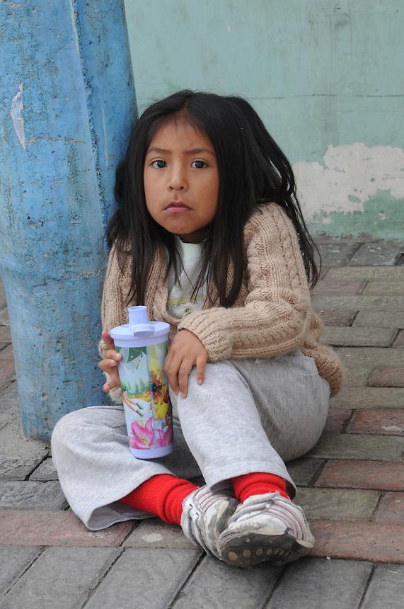 Young children (las ninas)in weekly market at Saquisili, Ecuador