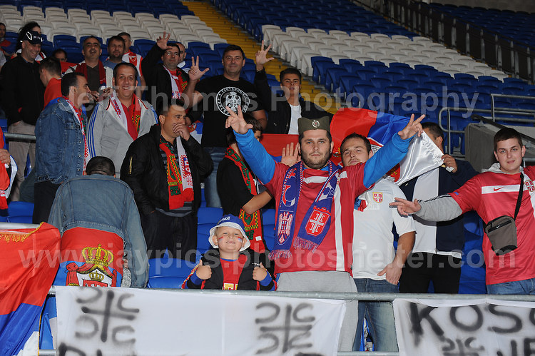 Some of the Serbian fans at the Wales v Serbia FIFA World Cup 2014 Qualifier match at Cardiff City Stadium, Cardiff, Wales -Tuesday 10th Sept 2014. All images are the copyright of Jeff Thomas Photography-07837 386244-www.jaypics.photoshelter.com