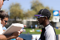 March 13, 2010 - Colorado Rockies' Dexter Fowler #24 signs autographs prior to a spring training game against the Milwaukee Brewers at Maryvale Baseball Park in Phoenix, Arizona.