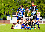 Uppsala 2014-06-26 Fotboll Superettan IK Sirius - IFK V&auml;rnamo :  <br /> V&auml;rnamos Benjamin Fadi har ont efter en n&auml;rkamp med Sirius Kerim Mrabti <br /> (Foto: Kenta J&ouml;nsson) Nyckelord:  Superettan Sirius IKS Studenternas IFK V&auml;rnamo skada skadan ont sm&auml;rta injury pain