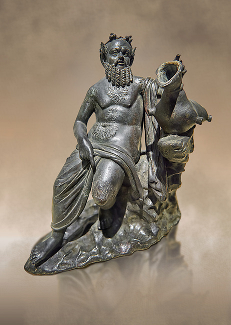 Roman Bronze sculpture of Silenus from atrium of the Villa of the Papyri in Herculaneum, Museum of Archaeology, Italy