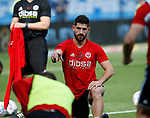 Ched Evans of Sheffield Utd warms up by throwing paper during the Championship match at the Hillsborough Stadium, Sheffield. Picture date 24th September 2017. Picture credit should read: Simon Bellis/Sportimage