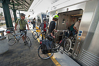 Highland Park, Metro rail train and area. Occidental College hosts New York City Transportation Commissioner Janette Sadik-Khan '82 as she takes a bicycle tour of the neighborhood to a Metro station in Highland Park on Friday, March 19, 2010. President Jonathan Veitch, students, faculty and the public took part. (Photo by Marc Campos, Occidental College Photographer)