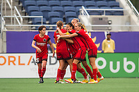 Orlando, FL - Sunday June 26, 2016: Portland Thorns FC celebrates scoring  during a regular season National Women's Soccer League (NWSL) match between the Orlando Pride and the Portland Thorns FC at Camping World Stadium.