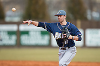 Akron Zips second baseman Billy Salem (17) makes a throw to first base against the Charlotte 49ers at Hayes Stadium on February 22, 2015 in Charlotte, North Carolina.  The Zips defeated the 49ers 5-4.  (Brian Westerholt/Four Seam Images)