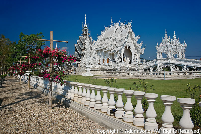 The new all white temple of What Rong Khun in Tambon Pa-Or Donchai, designed by Chalemchai Kositpipat.