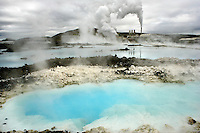 Cooling Pools & Silica Deposits at the Blue Lagoon Geothermal Power Plant