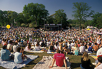 AJ1821, crowd, concert, people, Georgia, A crowd of people sitting on the lawn listening to the Turtles Concert at the Dogwood Festival in Piedmont Park in Atlanta.