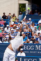Marcos Baghdatis serves during the Legg Mason Tennis Classic at the William H.G. FitzGerald Tennis Center in Washington, DC.  David Nalbandian defeated Marcos Baghdatis in straight sets in the finals Sunday afternoon.