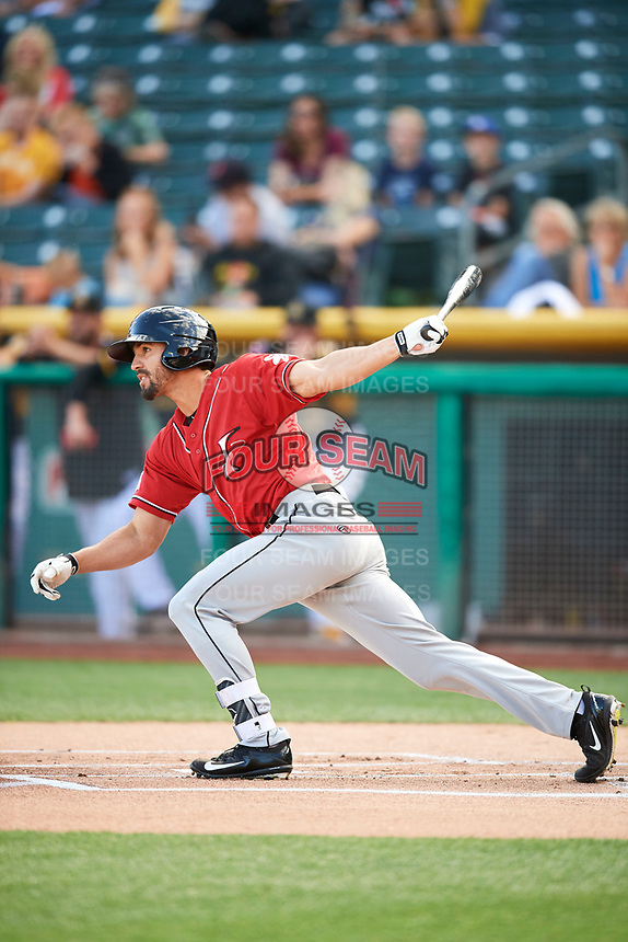 Derrik Gibson (1) of the Albuquerque Isotopes bats against the Salt Lake Bees in Pacific Coast League action at Smith's Ballpark on June 10, 2017 in Salt Lake City, Utah. The Isotopes defeated the Bees 4-2. (Stephen Smith/Four Seam Images)