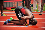 04.06.2011, Eugene, USA, Prefontaine Classic Track Meet, im Bild Kaki Khamis Abubaker (SUD) kisses the track after winning  the men's 800m race with a time of 1:43.68 at the Prefontaine Classic at Hayward Field in Eugene, Oregon..June 4, 2011. EXPA Pictures © 2011, PhotoCredit: EXPA/ New Sport Photo +++++ ATTENTION - OUT OF USA  +++++