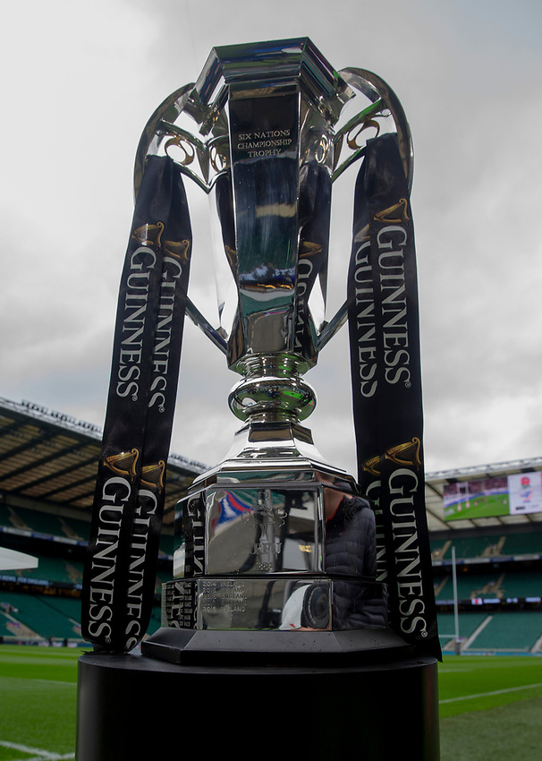 The Six Nations Trophy <br /> <br /> Photographer Bob Bradford/CameraSport<br /> <br /> Guinness Six Nations Championship - England v France - Sunday 10th February 2019 - Twickenham Stadium - London<br /> <br /> World Copyright © 2019 CameraSport. All rights reserved. 43 Linden Ave. Countesthorpe. Leicester. England. LE8 5PG - Tel: +44 (0) 116 277 4147 - admin@camerasport.com - www.camerasport.com