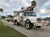 Gulf Power crews rolling into the Daytona Speedway Processing site preparing for 2019 Hurricane Dorian in Daytona, Fla. on September 2, 2019.