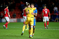 Shrewsbury Town's goalkeeper, Dean Henderson and Ben Godfrey celebrate at the final whistle during Charlton Athletic vs Shrewsbury Town, Sky Bet EFL League 1 Play-Off Football at The Valley on 10th May 2018