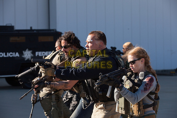 Joe Manganiello, Arnold Schwarzenegger, Mireille Enos<br /> in Sabotage (2014) <br /> *Filmstill - Editorial Use Only*<br /> CAP/FB<br /> Image supplied by Capital Pictures