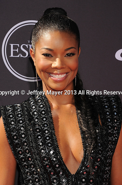 LOS ANGELES, CA- JULY 17: Actress Gabrielle Union arrives at the 2013 ESPY Awards at Nokia Theatre L.A. Live on July 17, 2013 in Los Angeles, California.