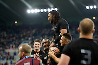 Ma'a Nonu of New Zealand is carried off the pitch by team-mates on the occasion of his 100th cap. Rugby World Cup Pool C match between New Zealand and Tonga on October 9, 2015 at St James' Park in Newcastle, England. Photo by: Patrick Khachfe / Onside Images