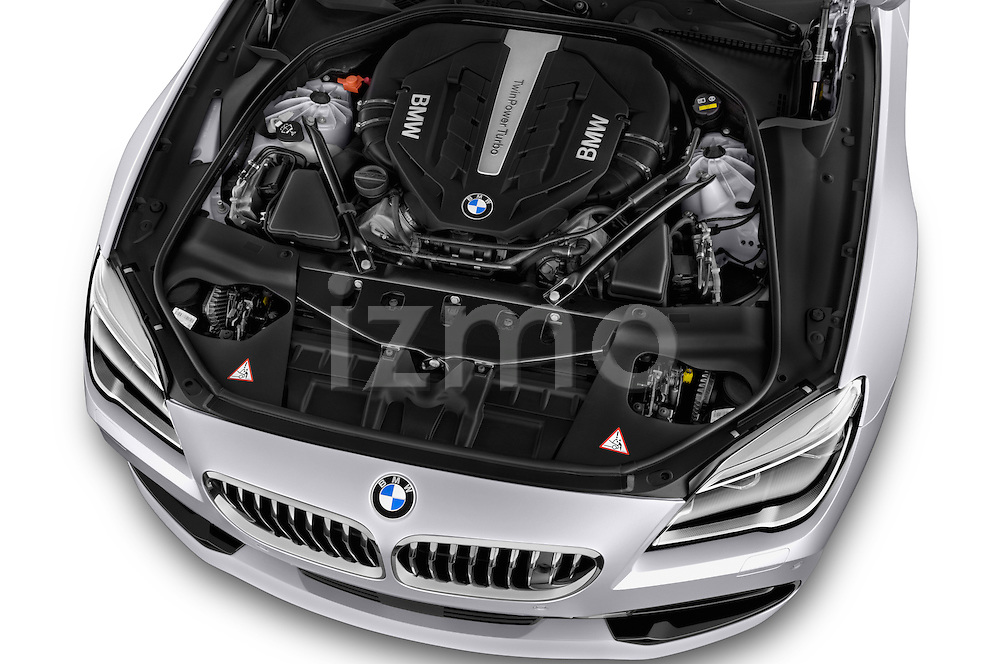 Car Stock 2015 BMW 6 Series Experience 2 Door Coupe Engine high angle detail view