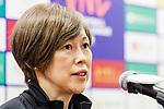 Team coach Kumi Nakada of Japan talks to media during the post match press conference of the FIVB Volleyball Nations League Hong Kong match China and Japan on May 30, 2018 in Hong Kong, Hong Kong. Photo by Chris Wong / Power Sport Images