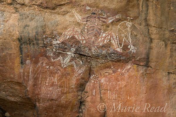 Aboriginal rock art including Namarndjolg (upper left) and Namarrgon, Lightning Man (upper right), Kakadu National Park, Northern Territory, Australia